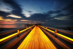July (dubdream) Tags: ocean wood bridge sea sky cloud seascape beach water germany landscape deutschland pier nikon baltic structure bluehour ostsee schleswigholstein d800 seebrcke heiligenhafen colorimage dubdream seebrckeheiligenhafen