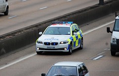 Surrey Police BMW 530d (stavioni) Tags: blue car lights traffic police surrey bmw roads m25 unit policing 530d gx12fub