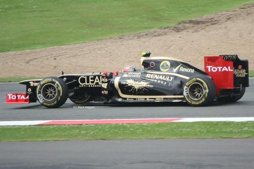 Romain Grosjean in his Lotus at Silverstone