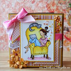 Sunday (DilyanaKupenska) Tags: pink flowers summer digital cat mos handmade laptop stamp card