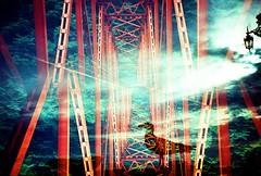 Caged bird (fotobes) Tags: uk bridge trees red sea sky bird silhouette japan clouds brighton pattern seagull multipleexposure westpier lantern gifu tripleexposure brightonpier palacepier filmswap internationalfilmswap splitzer fotobes hodachrome