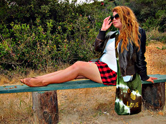 Candy Chilling in San Diego (TheJudge310) Tags: california park ca school portrait woman usa love girl leather bench hair bag glasses long candy unitedstates sandiego skirt shades brush flats trail jacket purse miniskirt 2012 pleated canonpowershots95