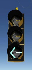 Yielding Left turn signal (Traffic signal Guy 14) Tags: left trafficsignal leftturn 8inch charchoal yielding twoyellows econolite onegreen federalyellow maskings spanwires led8incharrow