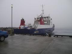 MV Bigga waiting in the fog (shirokazan) Tags: uk ferry lumix cycling islands scotland belmont united kingdom panasonic cycle touring shetland mv pz unst bigga vario bcq gutcher gx1 1442mm