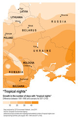 """Tropical nights"" (Zoi Environment Network) Tags: nature ecology weather night warm europe russia map extreme poland evolution ukraine latvia bulgaria projection romania future heat change environment geography trend temperature belarus curve climatechange climate warming forecast prediction lithuania easterneurope global moldova globalwarming statistic tropicalnight tendency climatechangeineasterneurope"