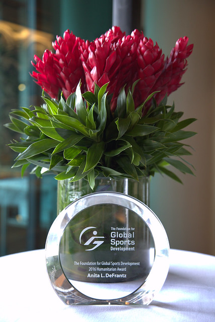 Award and flowers