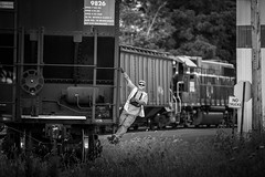 Shoving (Brandon Townley) Tags: trains railroad railway conductor io indianaandohio iory washingtoncourthouse ohio bw blackandwhite portrait railroader cfe
