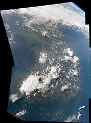 Korean Peninsula (sjrankin) Tags: 18august2016 edited panorama nasa iss iss048 iss048e50311 iss048e50312 iss048e50313 iss048e50314 korea koreanpeninsula clouds thunderclouds earthslimb seaofjapan yellowsea