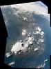 Korean Peninsula (sjrankin) Tags: 18august2016 edited panorama nasa iss iss048 iss048e50311 iss048e50312 iss048e50313 iss048e50314 korea koreanpeninsula clouds thunderclouds earthslimb seaofjapan yellowsea