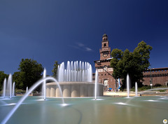 Sforza Castle, Milan (Calim*) Tags: fountain water castle milan architecture tower italy