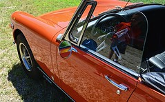 Admiration (pjpink) Tags: mg midget vintage vehicle automobile convertible fun sporty orange 50yrdrm car southcentral chasecity virginia june 2016 summer pjpink