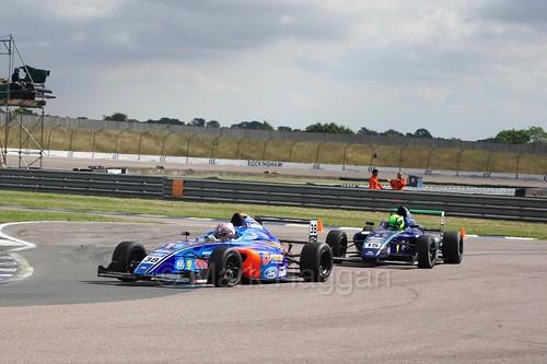 Jamie Caroline and James Pull in British Formula 4 at Rockingham, August 2016
