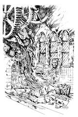 ART-216-frankensteins-lab--b&w (whisperstudio) Tags: eddiewilson brokentoys eddiewilsonart eddiewilsonartist eddiewilsonpresents whisperstudio scifiart steampunkart steampunk steampunkconceptart sketches scienceadventures fantasyart fantasyartsketches darkart doclazarus drlazarus doctorlazarus blackandwhiteart comicart conceptart c
