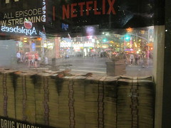Narcos Bus Shelter Pile O Money AD 5228 (Brechtbug) Tags: narcos tv show bus stop shelter ad with piles slightly singed real fake money or is it 2016 nyc 09102016 midtown manhattan new york city 49th street 7th ave st avenue moola bogus