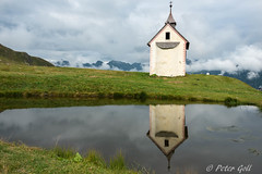 Capel Reflection (pego28) Tags: sdtirol italien italy southtyrol natur nature holiday vacation urlaub berge alpen hill mountain alps himmel 2016 nikon nikkor d800 wander hike tramp landschaft landscape sky jaufenhaus jaufenpass kapelle chapel curch katholisch catholic spiegelung reflection see weiher pond lake wolken clouds