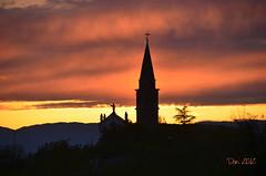 ... (danars) Tags: tramonto chiesa treno viaggio pianura