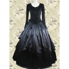 Sweet Black Satin Long Princess Lolita Dress (vsealzkmuns57) Tags: black long dress princess sweet lolita satin