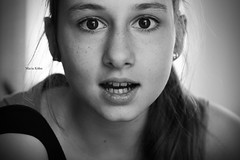 (maria khn (1)) Tags: portrait blackandwhite white black girl smiling canon eos big eyes confused surprised embaressed cotcpersonalfavorite 60d
