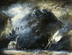 Fallen Angel (Yaroslav Gerzhedovich) Tags: sky cloud tree art fall broken grass illustration angel painting fire sketch wings artwork heaven acrylic moody wind ominous smoke picture surreal fallen disaster lightning