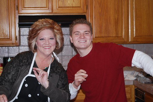 me and mom singing in the kitchen