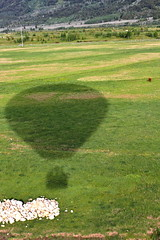 Hot Air Balloon (andrewpug) Tags: sun hot green happy nice air balloon pasture hotairballoon