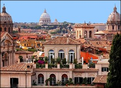 Over the roofs  of Rome (4 different pictures) (jackfre2 (on a trip-voyage-reis-reise)) Tags: blue trees houses italy rome roma roofs pines balconies ochre domes palaces cupolas roofgardens roofterraces mygearandme ringexcellence flickrstruereflection1 flickrstruereflection2 rememberthatmomentlevel1 rememberthatmomentlevel2