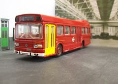 Bus garage interior (kingsway john) Tags: london transport leyland national efe kingsway models card kit garage diorama londontransportmodel model bus 176 scale oo gauge miniature