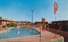 Sage and Sand Motel - Moses Lake, Washington (The Pie Shops Collection) Tags: pool sign washington sand postcard motel sage moseslake