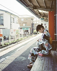 Waiting for train (hisaya katagami) Tags: people woman film girl lady japanese minolta kodak 28mm portra tc1  160nc