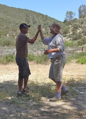 high five (maureenld) Tags: camping friends game fun 40th george bash jan may db highfive annual pinnacles 2012 pinnaclesnationalmonument bethereorbesquare laddergolf desertbash btobs