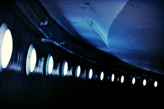 Blue Underground Passage (Blue Rave) Tags: blue light color colour berlin lines germany underground deutschland lights vanishingpoint europa europe path illumination tunnel illuminated line icc pathway thecolorblue 2012 iccberlin