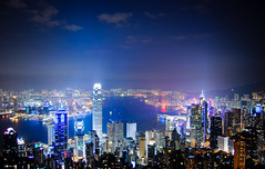 metropolis (marin.tomic) Tags: china city travel light sky urban hk water skyline architecture skyscraper dark asian hongkong lights big nikon asia glow view nightshot harbour central chinese illuminated highrise huge metropolis kowloon ifc bigcity hongkongisland gettyimages victoriapeak victoriaharbour symphonyoflights d40 banjofchinatower