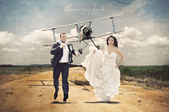 Not another plain wedding photo (Shawn Van Daele) Tags: wedding portrait plane vintage fun funny couple surreal wed run conceptual brideandgroom northbynorthwest shawnvandaele