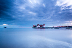 Floating pier (images through a lens) Tags: uk longexposure sea beach pier europe unitedkingdom britain somerset severn coastal westonsupermare grandpier steepholm westonsmare
