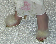 Heh, every girl needs marabou slippers in lucite, Right? (Sugarbarre2) Tags: show pink light red people urban woman white art animal rose self vintage painting mom gold photo high nikon toes paint sandals flash silk arches s wife heels satin granny nightgown sheer