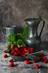 Tayberries (GARY HICKIN (GAZART)) Tags: red stilllife food green leaves stone fruit silver grey leaf spoon jug pewter tankard softfruit porringer tayberries