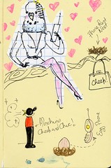 cheep trill paperdoll book (rough sketch) (Andrea Kett) Tags: paper toys activity andreakett budgiepaperdoll budgiesbudgerigarsbudgie dollbudgie