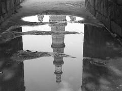 Qutab Minar, Delhi (mswan777) Tags: travel bw india reflection history water stone puddle delhi incredible