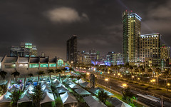 Comic Con Tent City (Justin in SD) Tags: grass skyline night canon dark lights downtown comic cityscape sandiego tent gaslamp conventioncenter late canon5d comiccon hdr 2012 sdcc harbordrive downtownsandiego hallh canon5dmarkiii 5d3 5dmark3 comiccon2012 sdcc2012