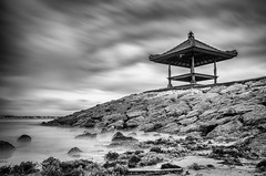 An early start, Benoa, Bali, Indonesia (Matthew Post) Tags: longexposure blackandwhite bali seascape beach indonesia pagoda post matthew rockwall tanjung benoa silverefexpro matthewpost
