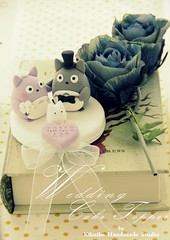 Wedding Cake Topper-love Totoro (charles fukuyama) Tags: wedding flower cute forest miniature anniversary totoro sweetheart artdoll lovely bridalveil dollhouse initials headdress bridalbouquet weddingcaketopper bridalhair claydoll handmadewedding kikuike