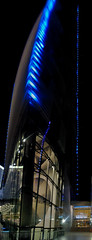 west veer tower over crystals shopping center (pbo31) Tags: city vegas blue light urban panorama black color art architecture night america canon dark lasvegas contemporary nevada july panoramic veer structure citycenter stitched 2012 crystalsshoppingcenter westveertower