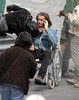 Colin Farrell sits in a wheelchair on the set of his new film 'Triage' Dublin, Ireland