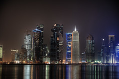 Sparkling Skyline (Wajahat Mahmood) Tags: sea building beach water skyline architecture night skyscraper buildings cityscape middleeast clear corniche getty hdr highdynamicrange gem jewel doha qatar