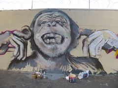 Kouka : cration en cours (samedi 20 aot 2016) (Archi & Philou) Tags: kouka travailencours wip workinprogress streetart singe monkey chimpanz portrait main hand dent tooth rueordener