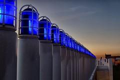Blue Light Special (slammerking) Tags: wichitaks oldtown lights beacon sky dusk led leading lines leadinglines columns bridge blue sundown bluehour