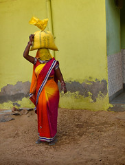 Village woman (Rick Elkins) Tags: woman sack cement standing carrying head color colorful churiajitgarh village shekhawati rajasthan india ghagra gagracholi ghagracholi gagra