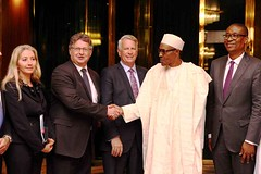 President Buhari with R-L Minister of Trade and Investment Mr Okechukwu Enelamah, Chairperson African Association of Automotive Manufacturers Mr Jeff Nemeth, Managing Director President RAF-S Mr Mike Whitfiel
