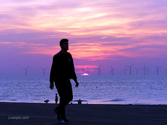 New Brighton Sunset (liverpix) Tags: weather red sunset spectacular beach walking walker sky sea newbrighton wirral windfarm windpower windturbines