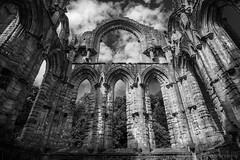 Fountains Abbey (jasonmgabriel) Tags: fountains abbey yorkshire building religious ruin arch monochrome black white bw